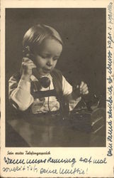 """His First Telephone Call"" - Young Boy with Telephone"