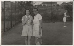 Three Women on Tennis Court