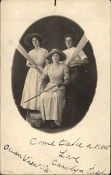 Portrait of Two Women and a Man Postcard