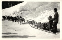 Man & Woman Riding Dog Sled in the Snow