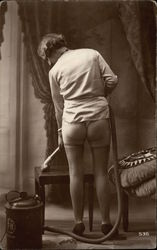 Bare Bottomed Woman Vacuuming Postcard