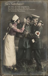 A Nurse and Doctor helping a Wounded Soldier Postcard