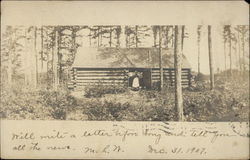 Black Woman in South - Standing in front of Log Cabin - 1907