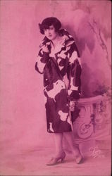 Woman in a Cow Skinned Coat Postcard