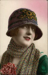 Woman in Cloche Hat and Scarf