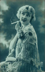 Blonde Woman in Floral Shawl Smoking Cigarette