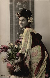 Woman in Kimono with Flowers