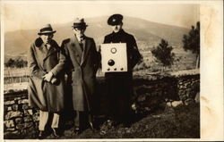 3 Men by a Stone Wall, Radio Postcard