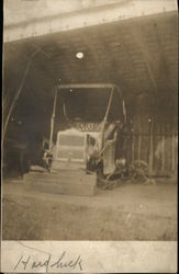 Tractor in Farm Shed Postcard