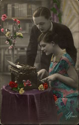 Couple at Flower Covered Typewriter Table