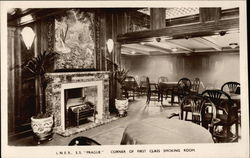 "LNER SS ""Prague"" - Corner of First Class Smoking Room"