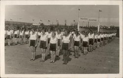 Women Lined up to Start Exercises Postcard