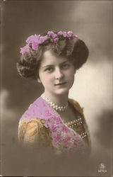 Portrait Photograph of Woman in Floral Dress & Pearls