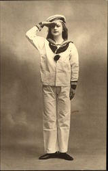 Portrait of Young Girl in Sailor Uniform