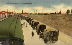 Military Selectees Arriving at Camp Claiborne Postcard