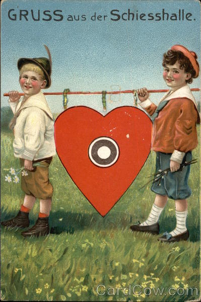 Greetings from the Shooting Hall - Two Boys with Heart Target