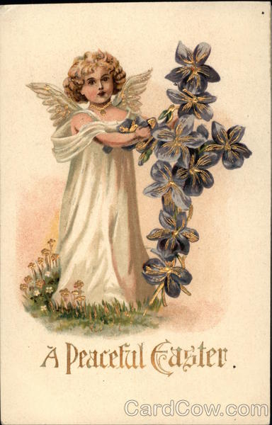A Peaceful Easter with Angel and Floral Cross With Angels