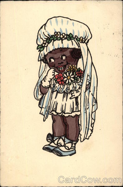 Caricature of young African American Girl in Wedding Dress
