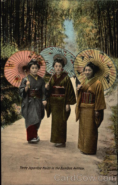 Three Japanese Maids in the Bamboo Avenue Asian