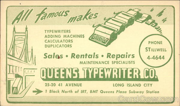 Queen's Typewriter Co Advertising