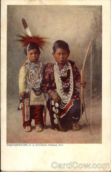 Two Little Braves - Indian Boys in Native Attire