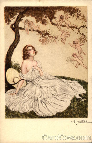 Semi-Nude Woman sitting under Tree surrounded by Cherubs
