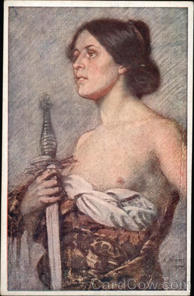 Tragedies - Topless Woman holding Sword Vintage Post Card