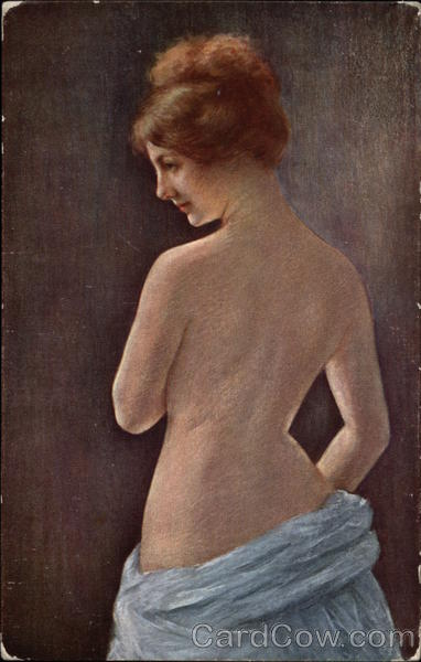 Study of a Back - Semi Nude Woman in Blue Skirting