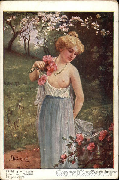 Spring - Partially Nude Woman Carrying Flowers in a Garden