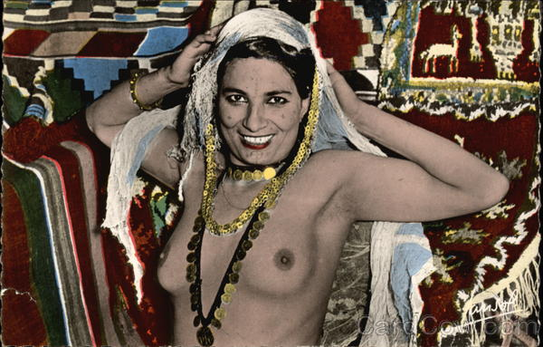 Topless Woman in Gold Jewelry & Head Scarf Risque & Nude