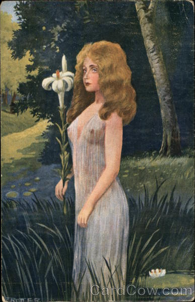 Blonde Woman in Sheer Gown holding Lily Women