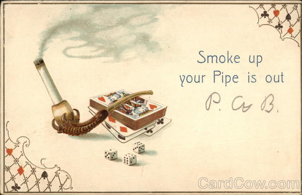 Cigarette in a Pipe with Cards and Dice Casinos & Gambling