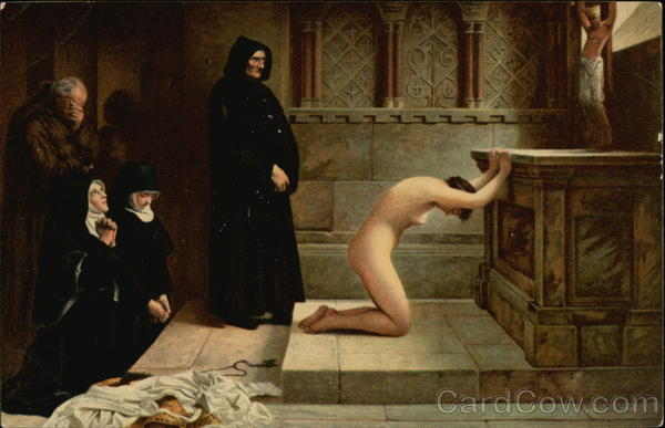 Renunciation - Nude Woman Kneeling at Altar with Nuns & Friars Looking On