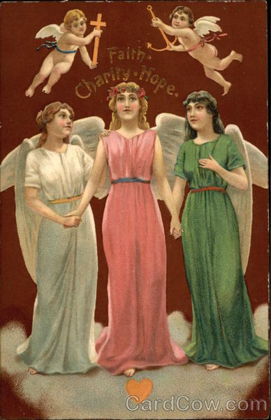 Faith, Charity, Hope - Three Angels with Two Cherubs