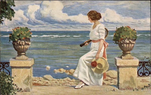 Woman with a Tennis Raquet by the Waterfront Art