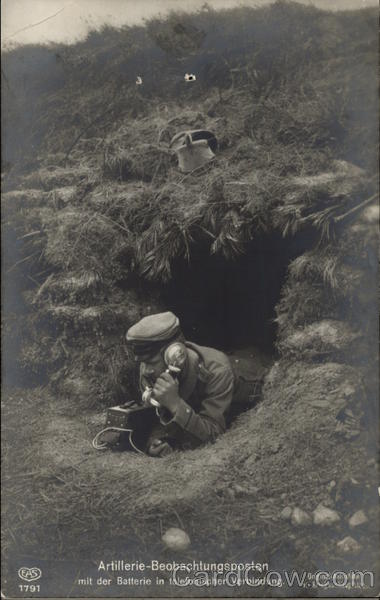 Artillery Observation Post -Soldier on Telephone Military