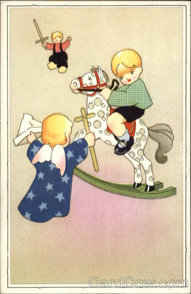 Children Playing with Wood Swords and Rocking Horse Old Postcard