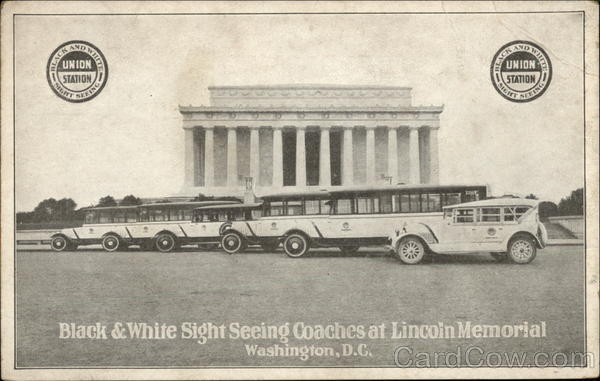 Black & White Sight Seeing Coaches at Lincoln Memorial, Washington, D.C