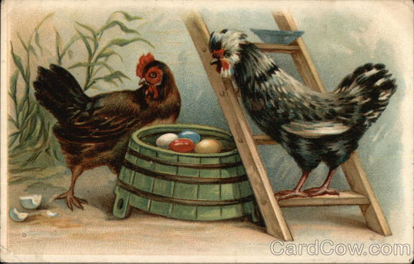 Two Chickens with Colored Eggs on Green Barrel Birds