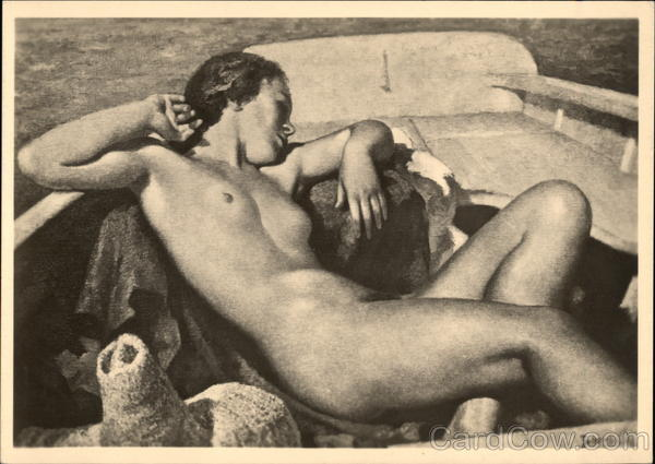 Nude Woman Reclining in Boat Risque & Nude