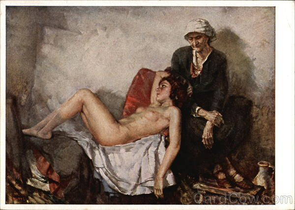 Being and Perishing - Old Woman Seated with Young Nude Woman Reclining