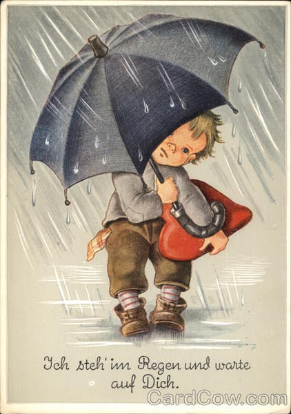 I Stand in the Rain and Wait for You - Child with Umbrella & Red Heart