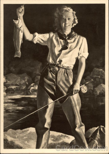 Blonde Woman in Waders Fishing