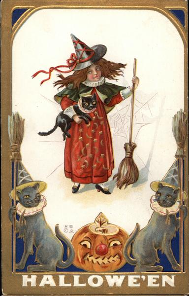 Witch with Black Cat and Broomstick Halloween