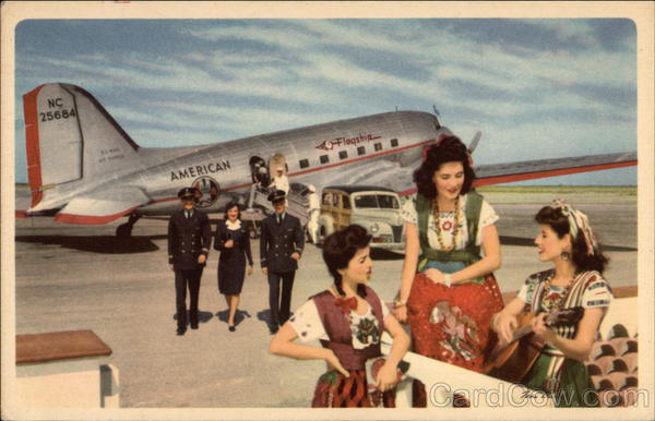 American Airlines Pilots and Stewardess Aircraft Woodies
