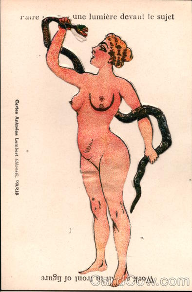 French Work A Light - Nude Woman with Snake Risque & Nude