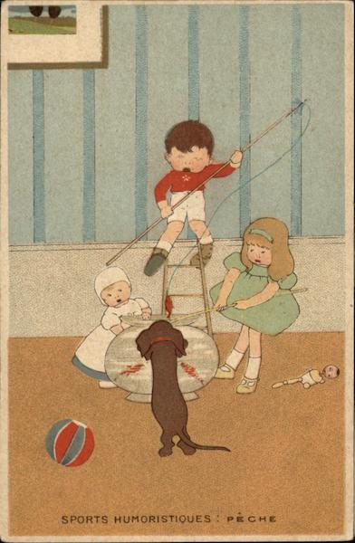 Young Children and Dog Fishing in Fishbowl Comic, Funny