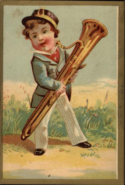 Boy in Suit Holding Tall Brass Horn Music and Literature