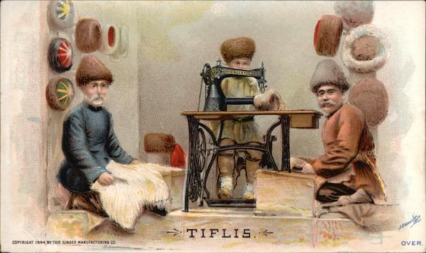 Tiflis - Ad for Singer Sewing Machines showing Three Mern Sewing Hats