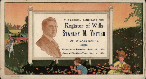 Register of Wills Stanley M. Yetter Blotter Wilkes-Barre Pennsylvania